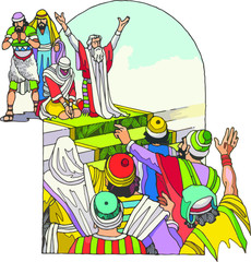 Moises ora junto con su pueblo judio
