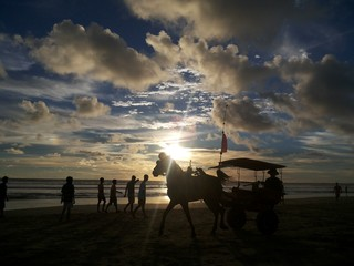 Beautiful Sun Set on Panjang Beach, Bengkulu, Indonesia