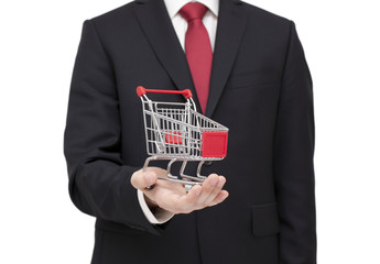 Shopping cart in businessman hand with clipping path