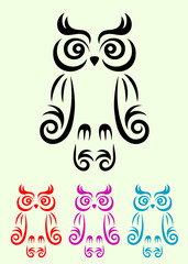 Owl bird, art vector decoration