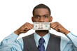 Bribery man with dollar bill on his mouth on white background