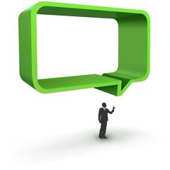 Vector illustration of green dialog box