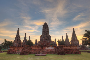 sunset at Wat Chaiwattanaram at Ayutthaya Thailand