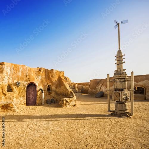 Fotobehang Tunesië Town in the Sahara Desert, Tunisia