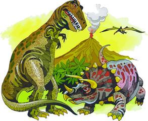 Dinosaurios terrestres del período Mesozoico