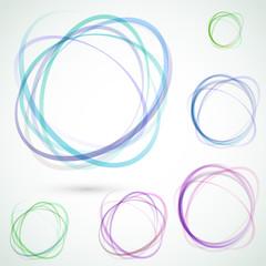 Bright colorful circle design elements set