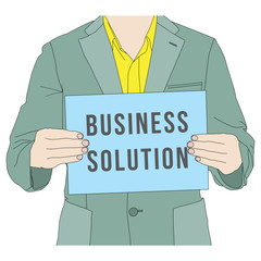 Business man holding business solution banner, vector format