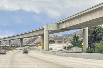 Rural highway overhead interchange concrete structure