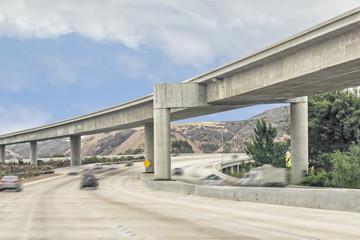 Rural highway overhead interchange concrete structure