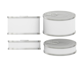 Short cylindrical white blank label  tin can with pull tab, clip