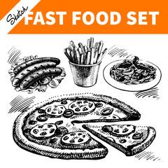 Fast food set. Hand drawn sketch illustrations