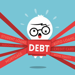 Debt concept illustration with a man wrapped up in red tape