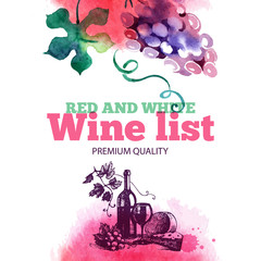 Wine list. Hand drawn sketch and watercolor illustration.