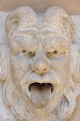 Stone head gargoyle decorative element