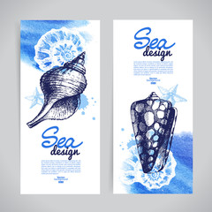 Seashell banners. Sea nautical design.