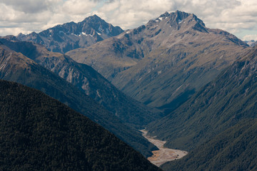 forested slopes in Arthur's Pass National Park, New Zealand
