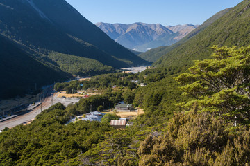 aerial view of Arthur's Pass village in New Zealand
