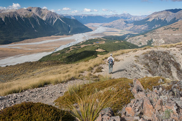 hiker in Arthur's Pass National Park, New Zealand