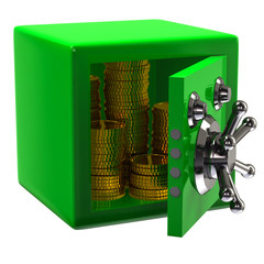 Green security safe with gold coins