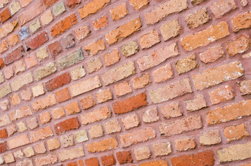 Wall with diagonal bricks