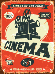 Grunge retro cinema poster. Vector illustration.