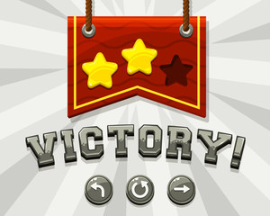 Game victory screen. Vector illustration.