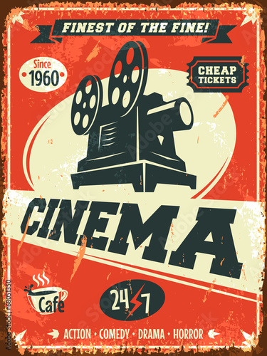 Aluminium Vintage Poster Grunge retro cinema poster. Vector illustration.