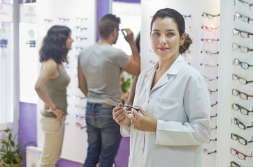Optical store, people and lenses.