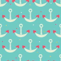 Cute seamless pattern with anchor.
