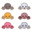 Set of kawaii spiders with different facial expressions. - 68052179