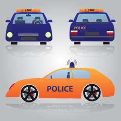 color police car from front, back and side view eps10