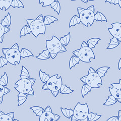 Seamless kawaii cartoon pattern with cute bats.