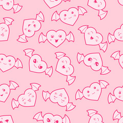 Seamless kawaii cartoon pattern with cute hearts.