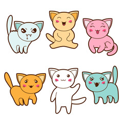 Set of kawaii cats with different facial expressions.
