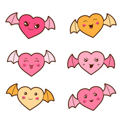 Set of kawaii hearts with different facial expressions.