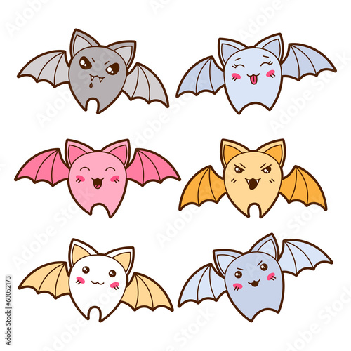 Set of kawaii bats with different facial expressions. - 68052173