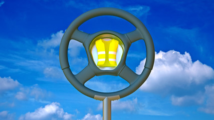 Steering wheel as a traffic sign with reflective vest
