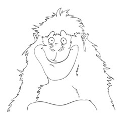 Smiling cartoon gorilla monkey, vector illustration.