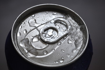 Aluminum Soda, Beer Can With Water Drops