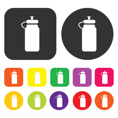 Milk bottle icon. Health and fitness symbol. Round and rectangle