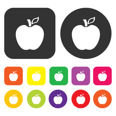 Apple icon. Health and fitness symbol. Round and rectangle colou
