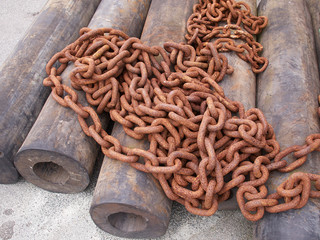 Rusty old iron chains