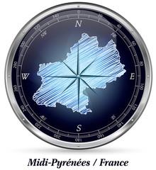 Midi-Pyrenees mit Grenzen