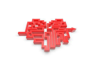 red heart maze