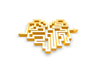 gold heart maze path