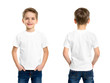 canvas print picture - White t-shirt on a young man isolated