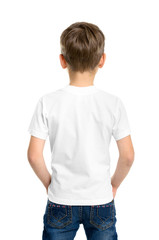 Back white T-shirt on a boy
