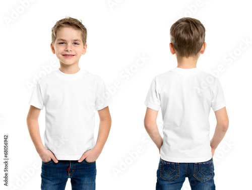 canvas print picture White t-shirt on a young man isolated
