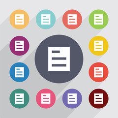 list circle, flat icons set