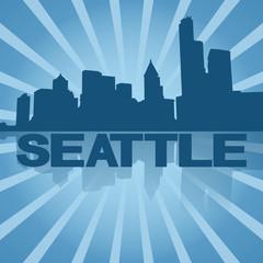 Seattle skyline reflected with blue sunburst illustration